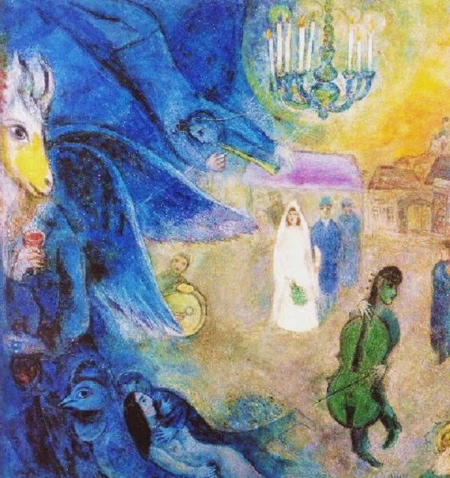 The Wedding Candles by Marc Chagall. (Photo from www.abacus-gallery.com)